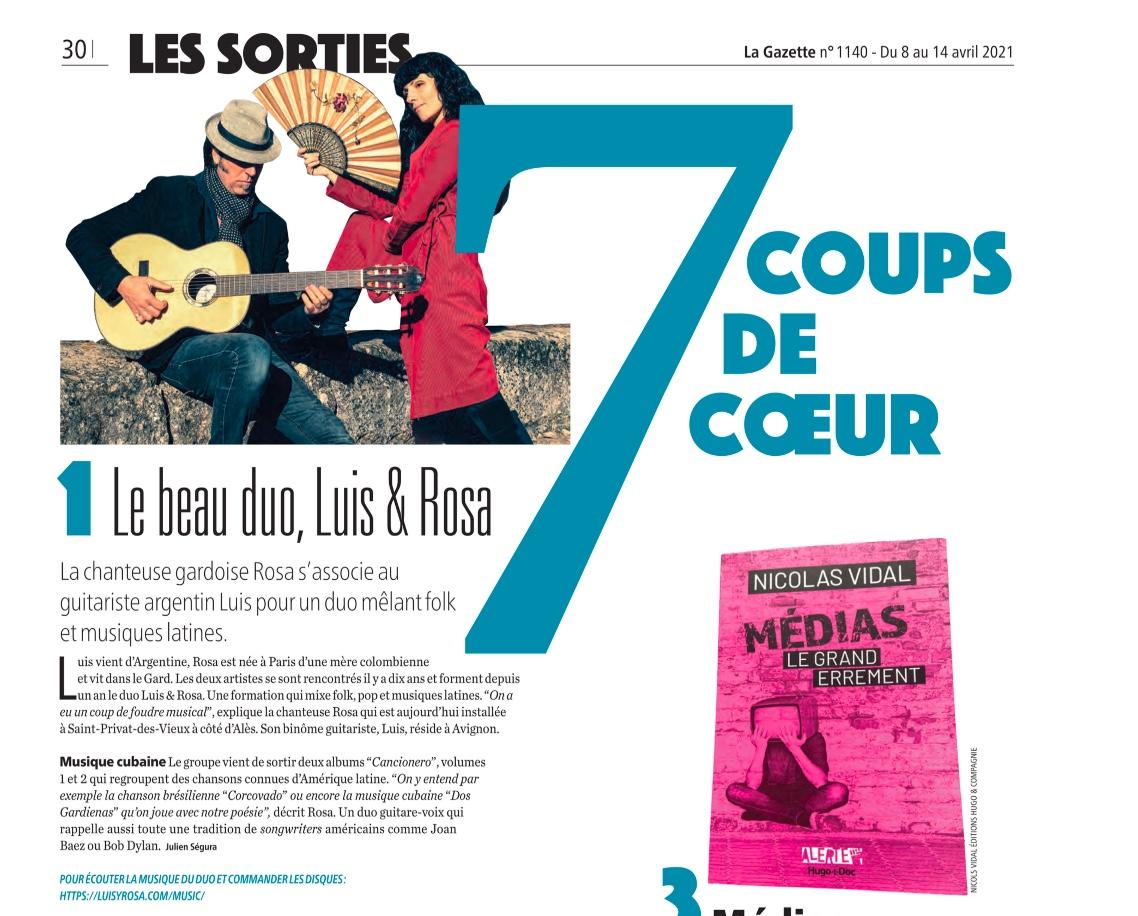 Luis&Rosa élu coup de coeur dans la gazette de Nimes